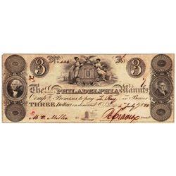 1828 $3 Salem & Philadelphia, PA Obsolete Bank Note