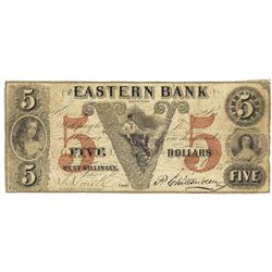 1852 $5 Eastern Bank, West-Killingly, CT Obsolete Bank Note