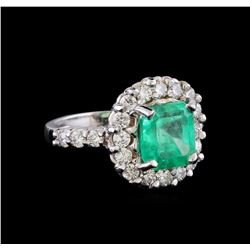 2.78 ctw Emerald and Diamond Ring - 14KT White Gold
