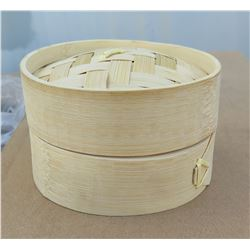 "Qty 100 Bamboo Steamers 2.5""H x 3.5""D"