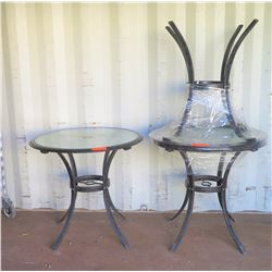 "Qty 3 Round Glass Top Approx 29""D x 29""H"