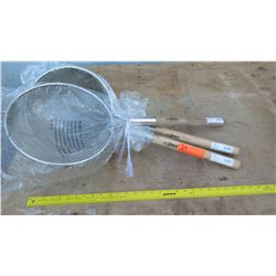 "Qty 3 12"" Double Mesh Strainer"