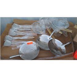 Qty 5 Wok Spatula, Qty 3 Mandarin Strainer, Qty 5 Wire Skimmer