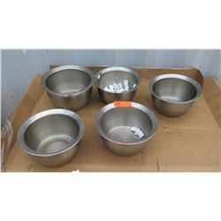 "Qty 5 Stainless Steel Mixing Bowls Approx 11"",  5.5"" Deep"