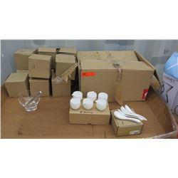 """Qty 8 Boxes of 6 White Creamers, Qty 11 5"""" Glass Bowls, Qty 1 Box White Soup Spoons"""