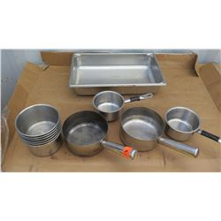 "Qty 6 Stainless Steel 6"" Inserts, Qty 4 Sauce Pots, Qty 1 Full Size 4"" Hotel Pan"