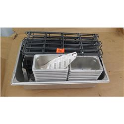 """Qty 13 6"""" 1/9 Pans, Qty 1 4"""" Full Size Hotel Pan, Wire Drawer Dividers"""