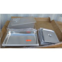 "Approx 5 2"" Full Size Hotel Pans, Qty Approx 4 1/2 Size Hotel Pan Covers, Qty Aprrox 5 Plastic Hotel"