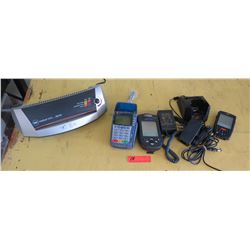 Verifone, United, Janam POS/Credit Card Readers w/ Chargers (Approx 6pcs), GBC Heatseal Pouch Lamina