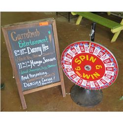 """Double Sided A-Frame Chalkboard Sign & """"Spin & Win"""" Wheel"""