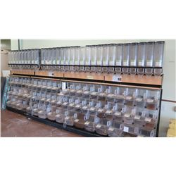 Entire Dispenser System w/ Scoops/Hoslters (Approx 47 Small, 16 Large) and Gravity Dispensers (Appro