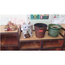 Decorative Items: Baskets, Ceramic Pot, Buddah Figurine, Maneki-Neko (Lucky Cat) 4pcs