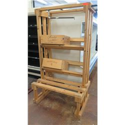Large Wooden Display Unit with Shelving and Wine Crates