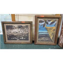 Framed Palm Tree, Black & White Vintage Hula Photos 28.5x36.5 & 37x29.5