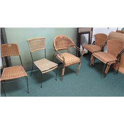 Wicker and Metal/Iron Chairs (Approx 9)
