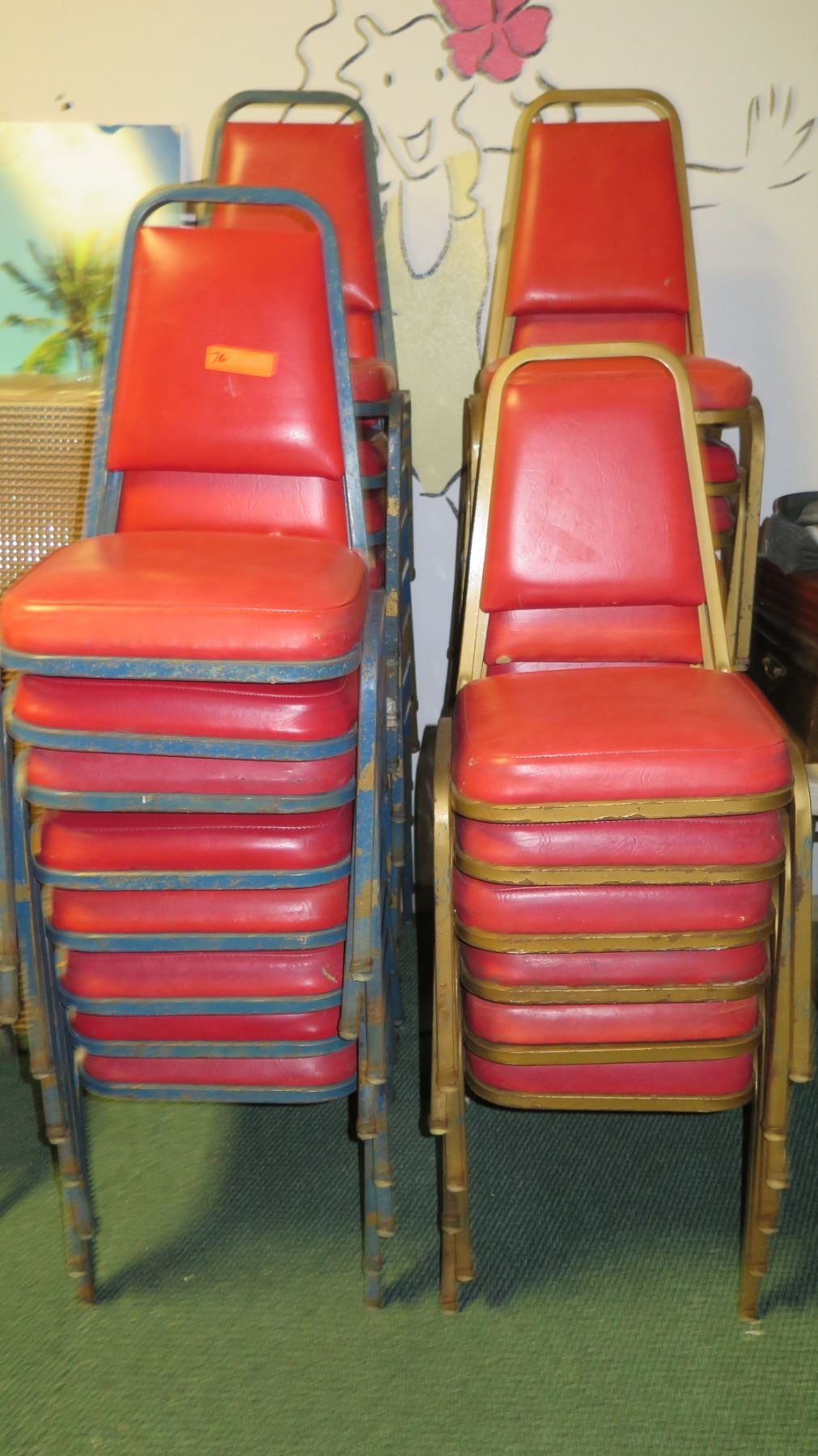 Vinyl Upholstered Stackable Chairs Approx 18 Red Blue 16