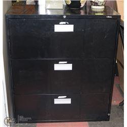 3 DRAWER BLACK METAL FILING CABINET