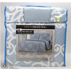 NEW 6 PC KING SIZE QUILT AND SHEET SET