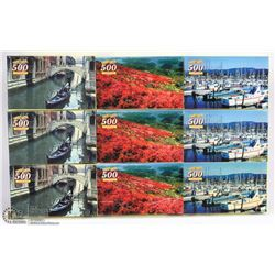 GROUP OF NINE 500 PC PUZZLES