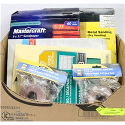 BOX OF SANDPAPER & EMERY CLOTH ROLLS INCLUDES
