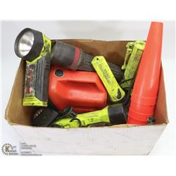 BOX OF FLASHLIGHTS INCLUDES 5 PELICANS