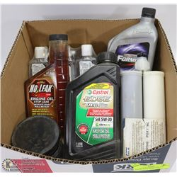 BOX OF NEW SHOP FLUIDS - OIL, SYNTHO POXY, HAND