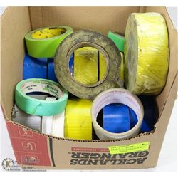 BOX OF VARIOUS ROLLS OF TAPE - NEW AND USED