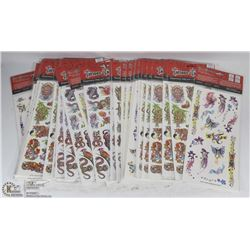 BUNDLE OF 33 SHEETS OF TATTOOS FOR ADULTS, KIDS