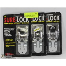 3 NEW SURE-LOCK SECURITY DEVICES - SECURES ANY