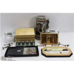 ESTATE FLAT OF COLLECTIBLES INCLUDING BEER STEIN