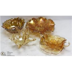 LOT OF CARNIVAL GLASS CANDY DISHES AND MORE