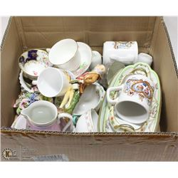 ESTATE BOX OF HOME CHINA COLLECTIBLES