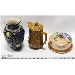 MADE IN JAPAN NORITAKE LIDDED DISH, TEA POT AND