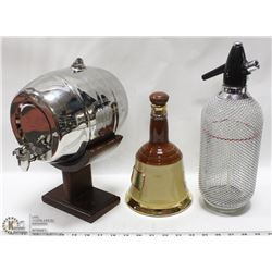 VINTAGE BEAM BELL DECANTER WITH MINI KEG ON STAND