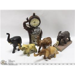 FLAT OF WOODEN ELEPHANTS 1 CLOCK
