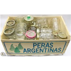 WOODEN CRATE FILLED WITH SEALER JARS