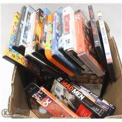 HUGE BOX OF 75 DVDS INCL HEROES SEASON 1, FAMILY