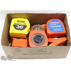BOX OF ASSORTED TAPE MEASURES.