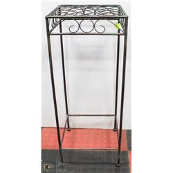 """TWO TONED WROUGHT IRON PLANT STAND - 27""""H X"""