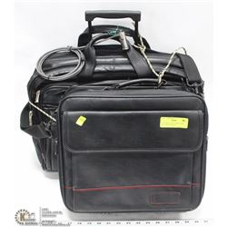 2 LEATHER LAPTOP BRIEFCASES INCL 1 WITH WHEELS