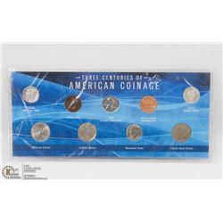 9PC THREE CENTURY AMERICA COIN SET INCL 1980,