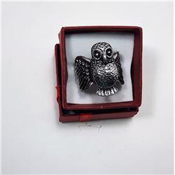 3) SILVER TONE OWL RING