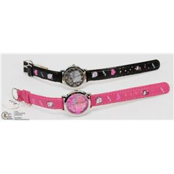 7) 2 NEW  HELLO KITTY WATCHES,RED AND BLACK STRAPS
