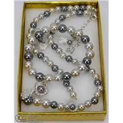 FAUX PEARL SET INCL NECKLACE BRACELET AND EARRINGS