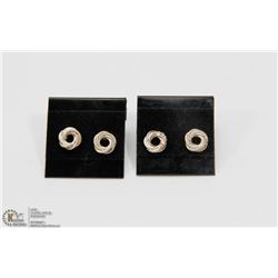 2 PAIRS OF STERLING SILVER KNOT STUD EARRINGS.