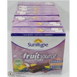6 BOXES OF 12 SUNRYPE FRUITSOURCE SUPERFRUITS