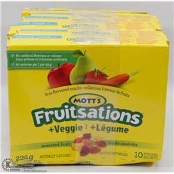 6 BOXES OF 10 MOTTS FRUITSATIONS & VEGGIES SNACKS.