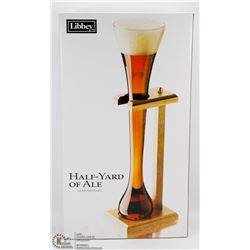 HALF YARD OF ALE GLASS AND STAND.