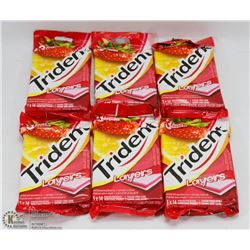 6 PACKS OF 3 TRIDENT LAYERS GUM - STRAWBERRY &