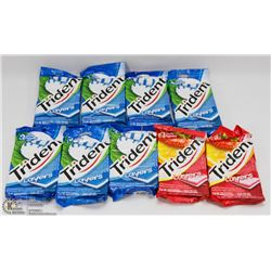 9 PACKS OF 3 ASSORTED TRIDENT LAYERS GUM.